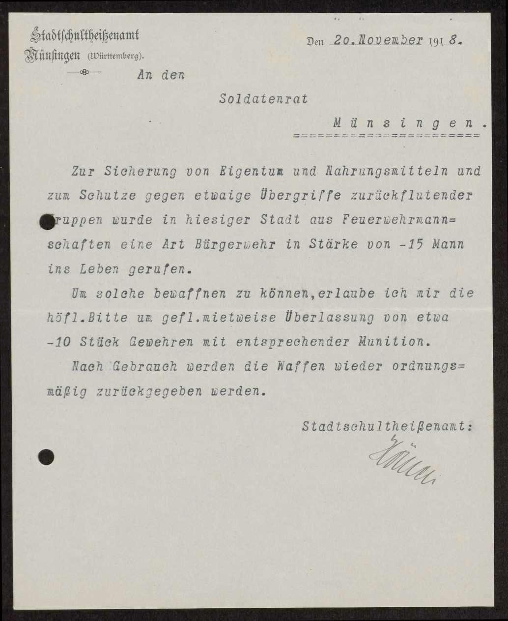 Bitte des Stadtschultheißenamts Münsingen um Abgabe von 10 Gewehren mit Munition an die neu errichtete Bürgerwehr, Ablehnung der Bitte, Bild 1