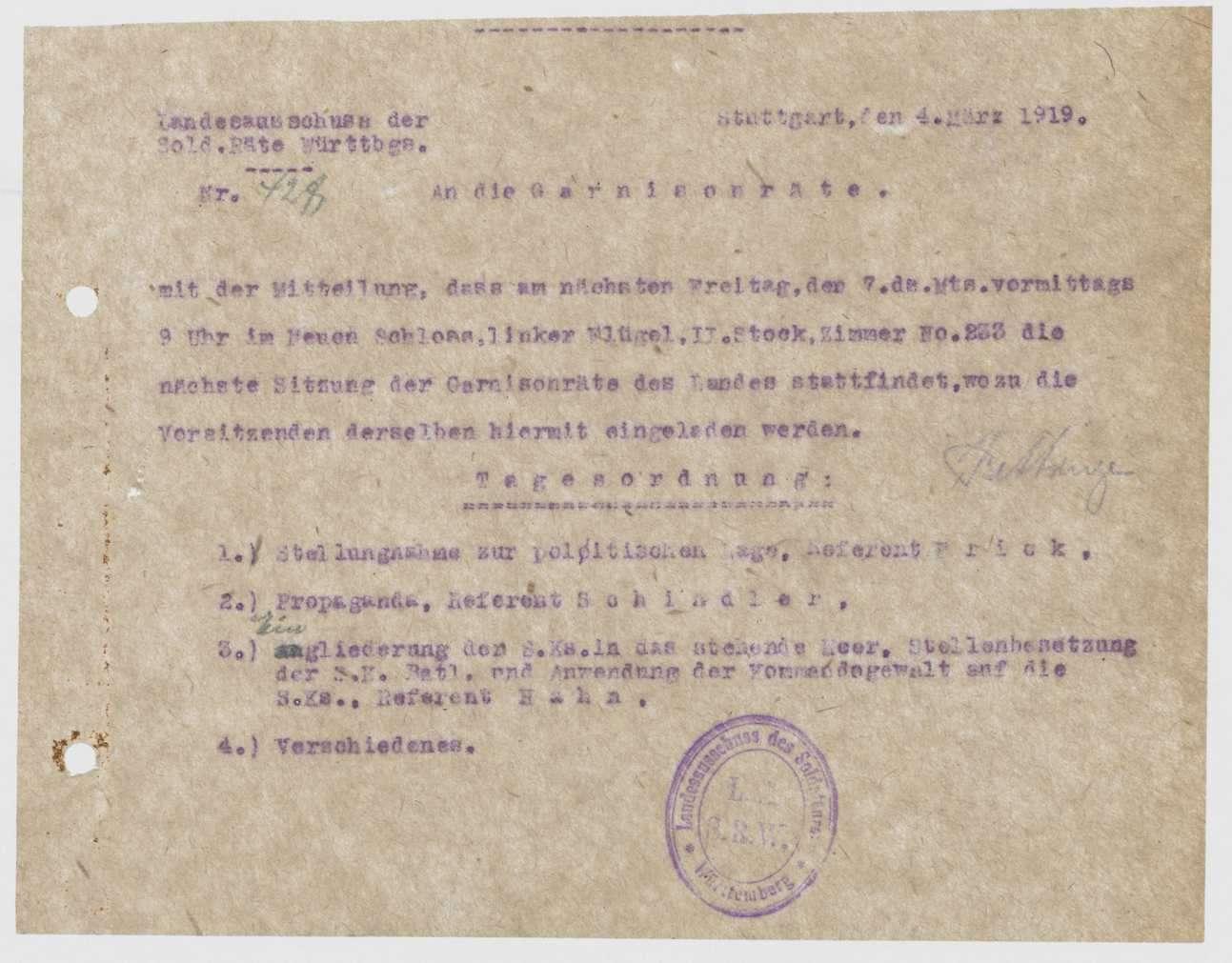 Ankündigung einer Sitzung der Garnisonräte durch den Landesausschuss der Soldatenräte mit Tagesordnung, Bild 1