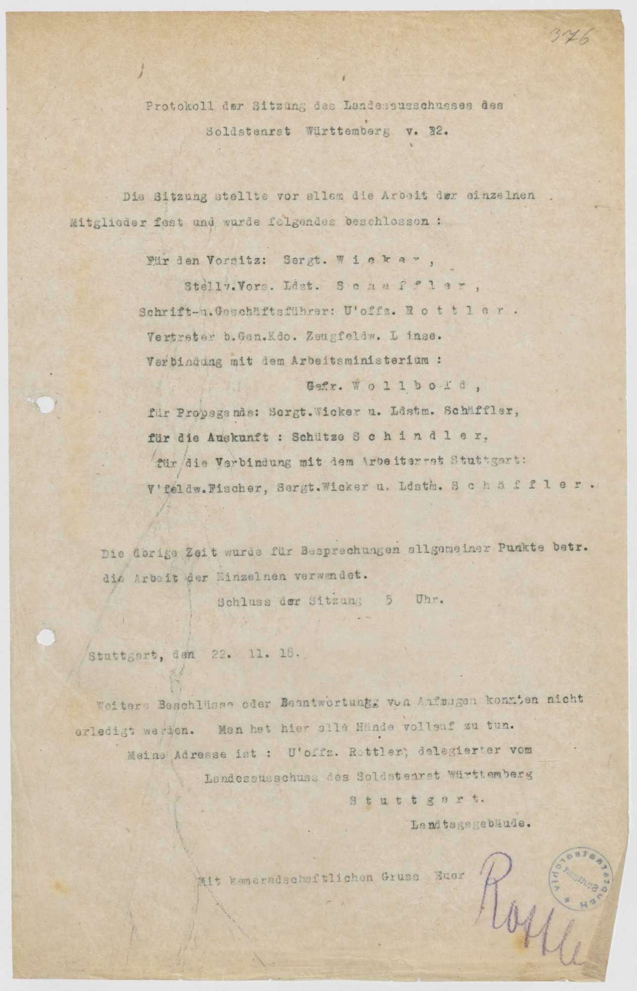 Zusammensetzung und Geschäftsverteilung des Landesausschusses, Vorschlag mehrerer Garnisonen zur Erweiterung des Landesausschusses, Bild 1