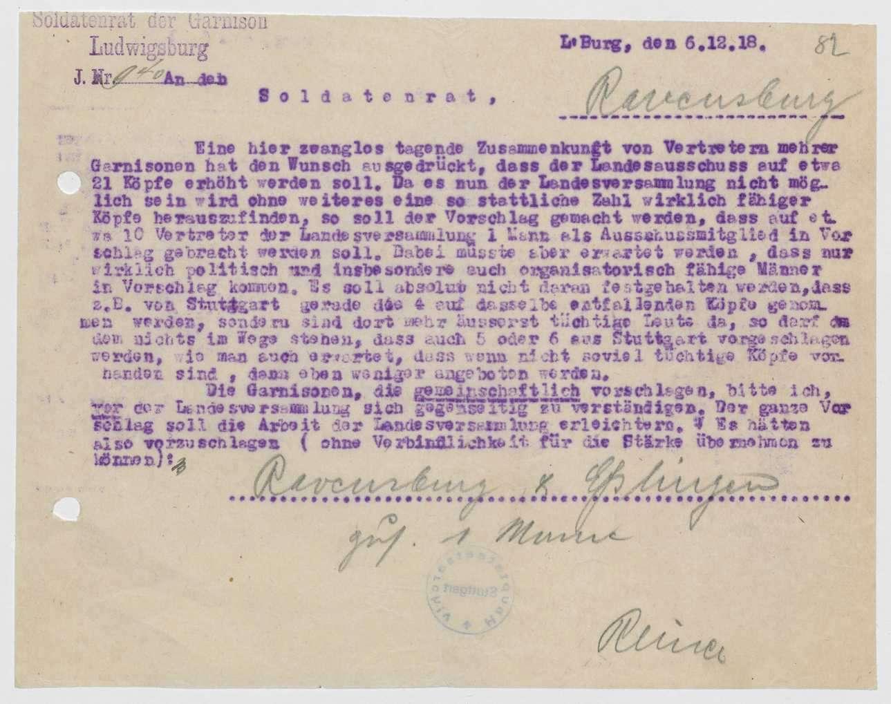 Zusammensetzung und Geschäftsverteilung des Landesausschusses, Vorschlag mehrerer Garnisonen zur Erweiterung des Landesausschusses, Bild 2