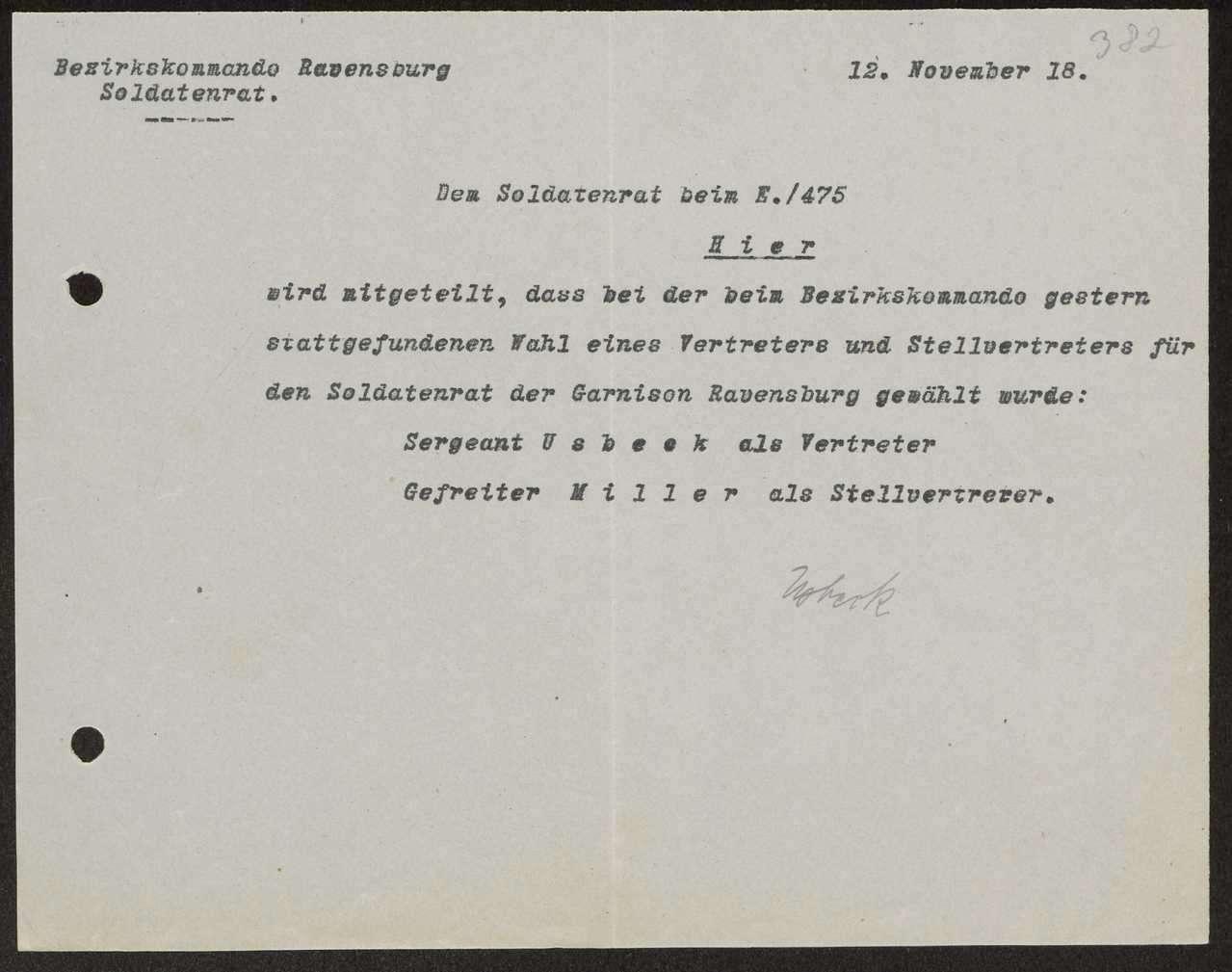 Wahl und Zusammensetzung des Garnisonrats und der einzelnen Soldatenräte, Aufhebung des Garnisonrats, Bild 1