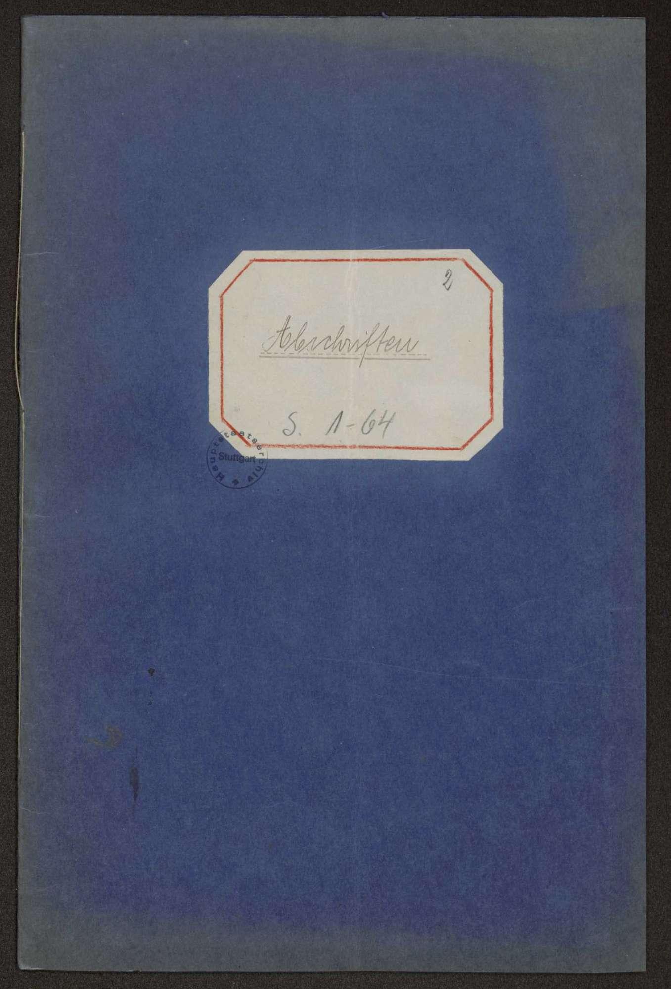 """""""Abschriften""""-Buch des Garnisonrats über die auslaufenden Schriftstücke, Bild 1"""