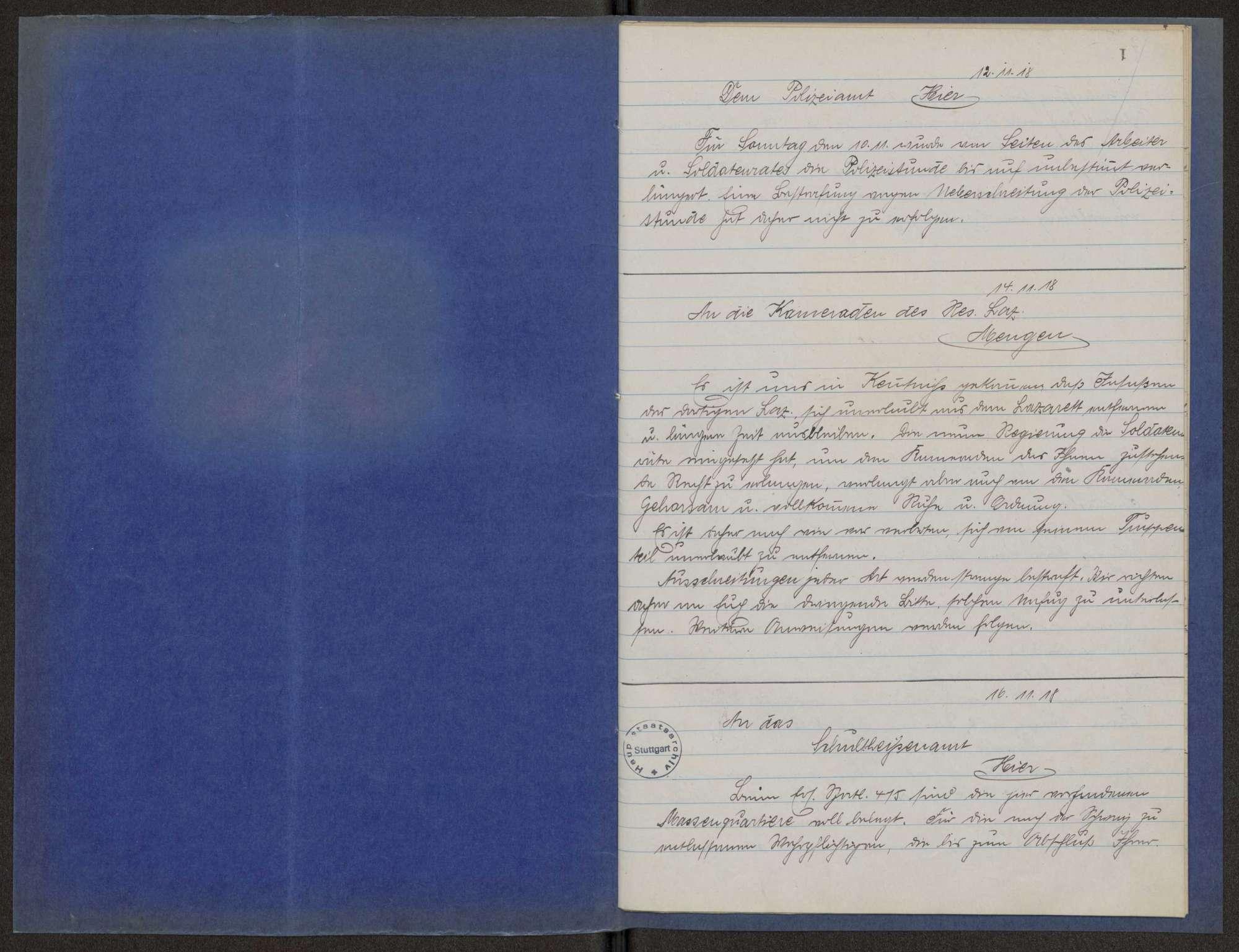 """""""Abschriften""""-Buch des Garnisonrats über die auslaufenden Schriftstücke, Bild 2"""