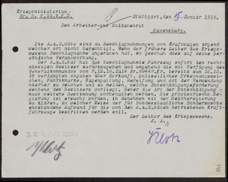 Rückgabe vom Soldatenrat für seine Zwecke beschlagnahmter privater Kraftfahrzeuge, Bild 2