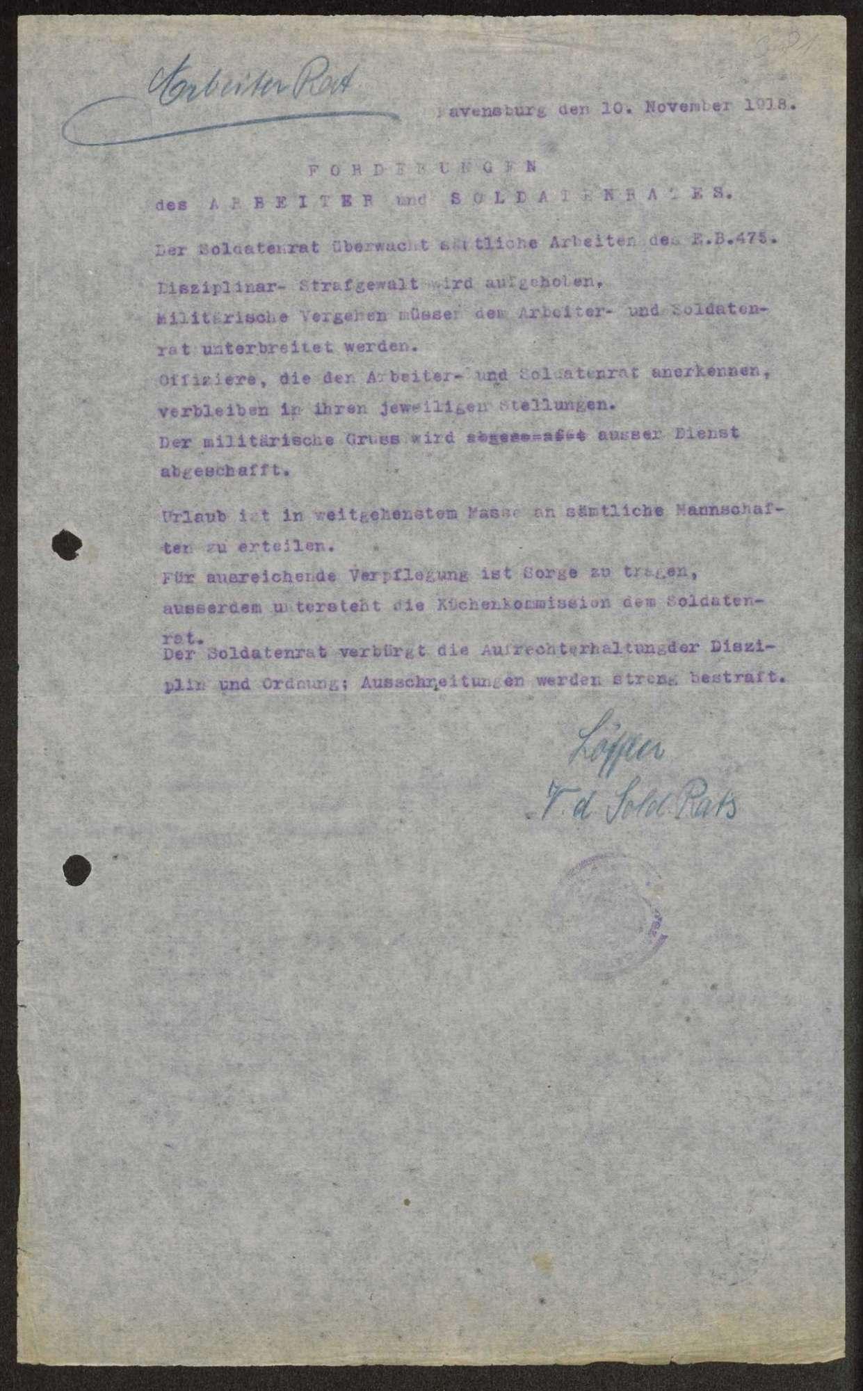 Allgemeine Forderungen des Arbeiter- und Soldatenrats, Kompetenzen der Garnisonräte, Bild 1