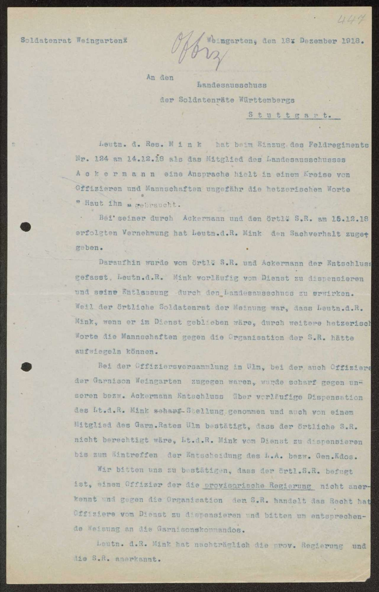 Allgemeine Forderungen des Arbeiter- und Soldatenrats, Kompetenzen der Garnisonräte, Bild 2