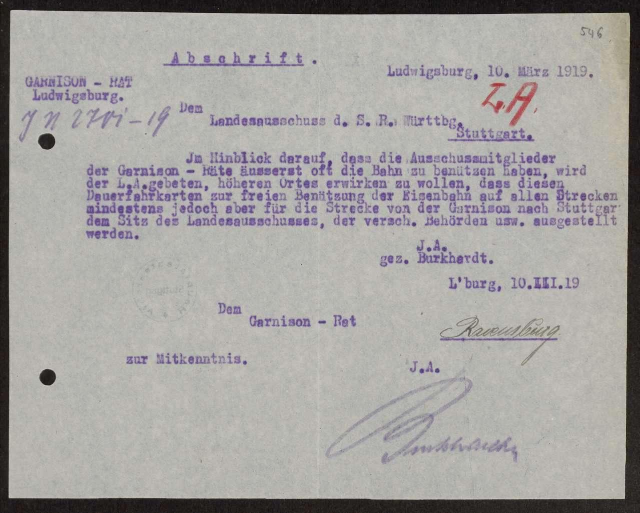 Antrag des Soldatenrats an den Landesausschuss zur Ausstellung von Dauerfahrkarten für Mitglieder der Soldatenräte für Bahnfahrten nach Stuttgart, Bild 1