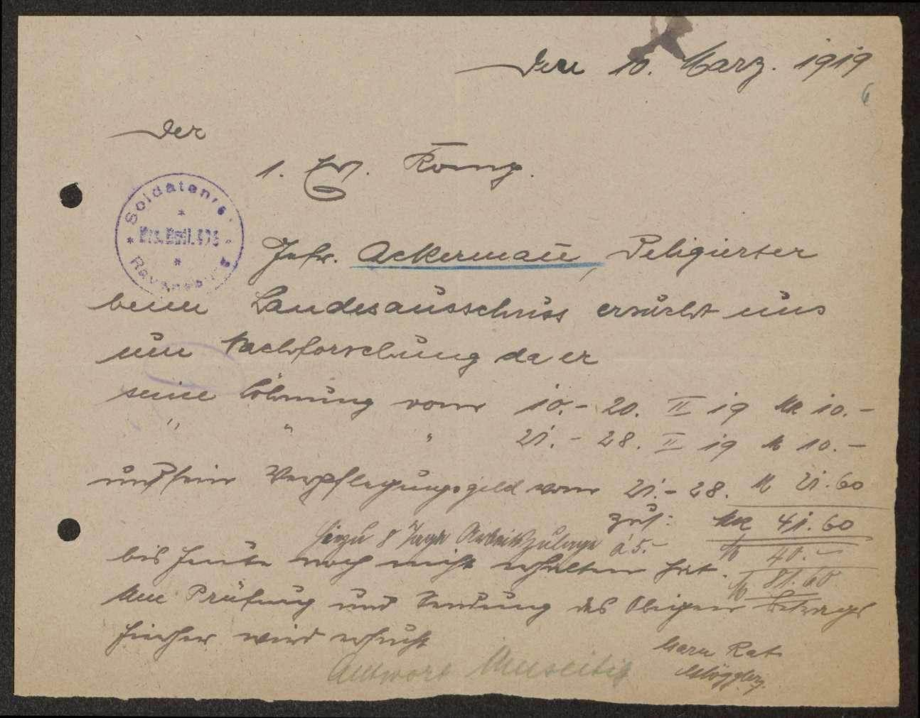 Festlegung der Zulagen der Soldatenratsmitglieder, Zahlung eines Vorschusses durch die Stadtpflege Ravensburg, Bild 3
