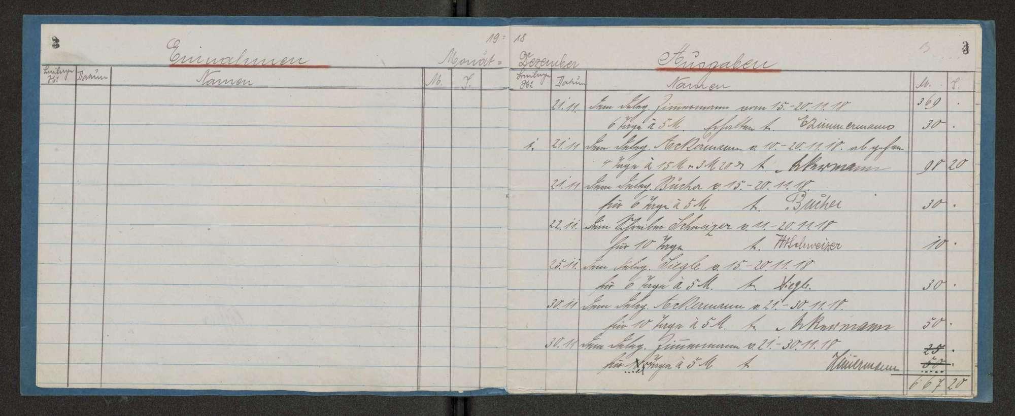 Kassa-Buch über Einnahmen und Ausgaben des Garnisonrats, Bild 3