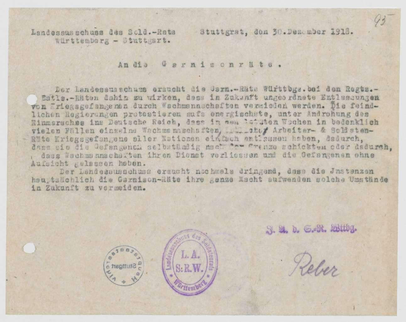 Anweisung des Landesausschusses der Soldatenräte zur Verhinderung der Entlassung von Kriegsgefangenen durch die Wachmannschaften, Bild 1
