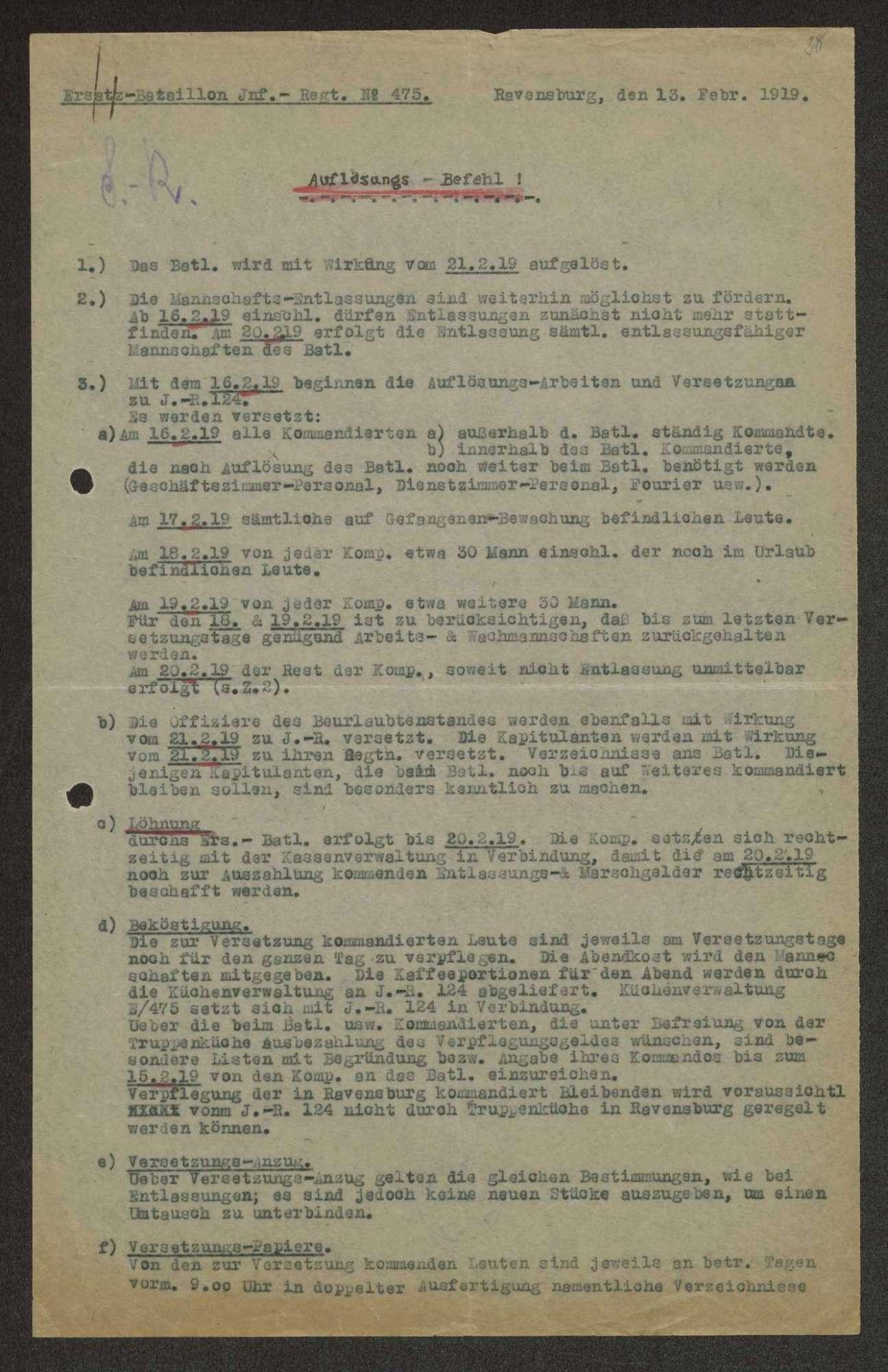 Auflösungsbefehl des Ersatz-Bataillons des Infanterie-Regiments Nr. 475, Bild 1