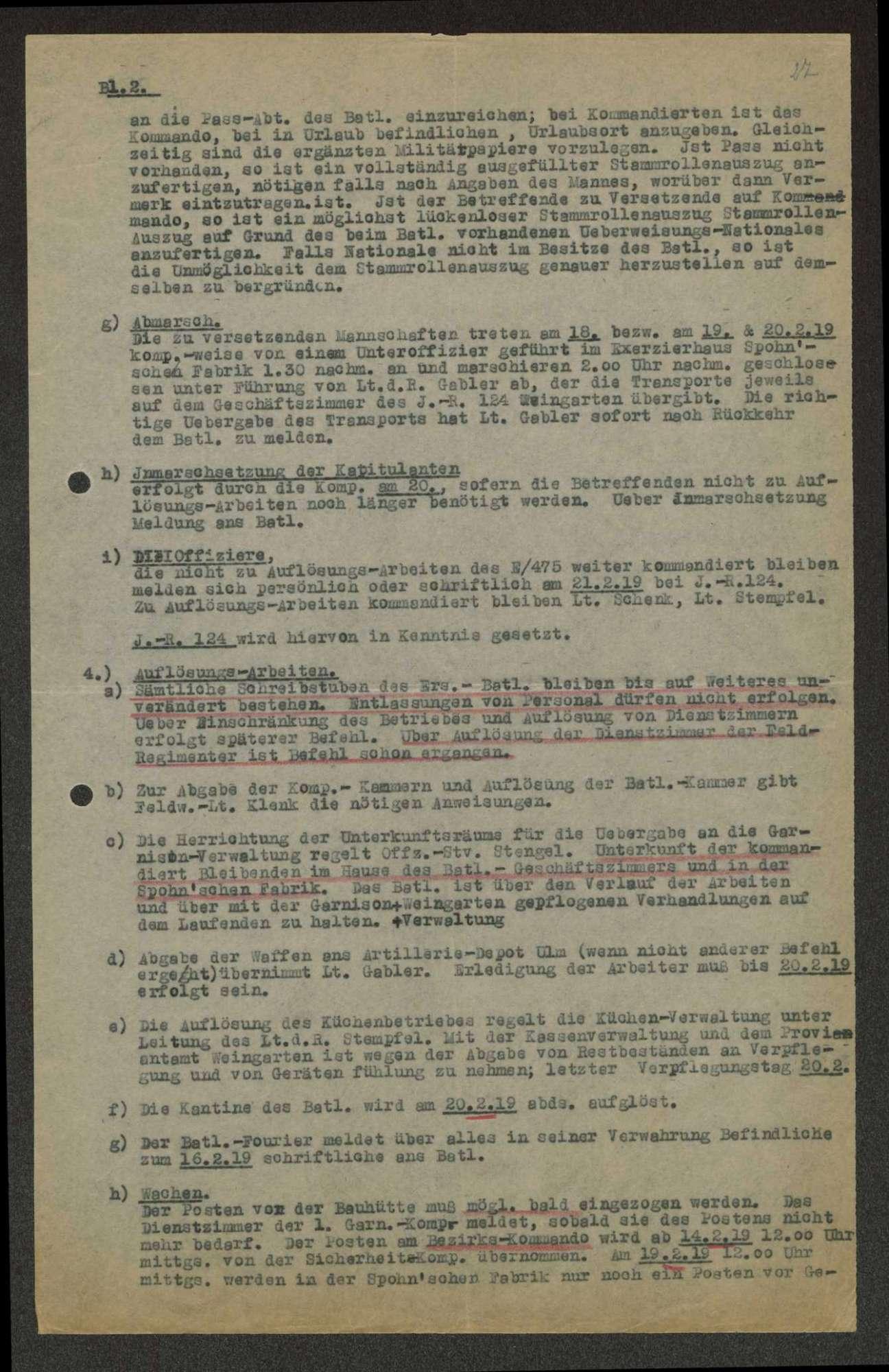 Auflösungsbefehl des Ersatz-Bataillons des Infanterie-Regiments Nr. 475, Bild 2