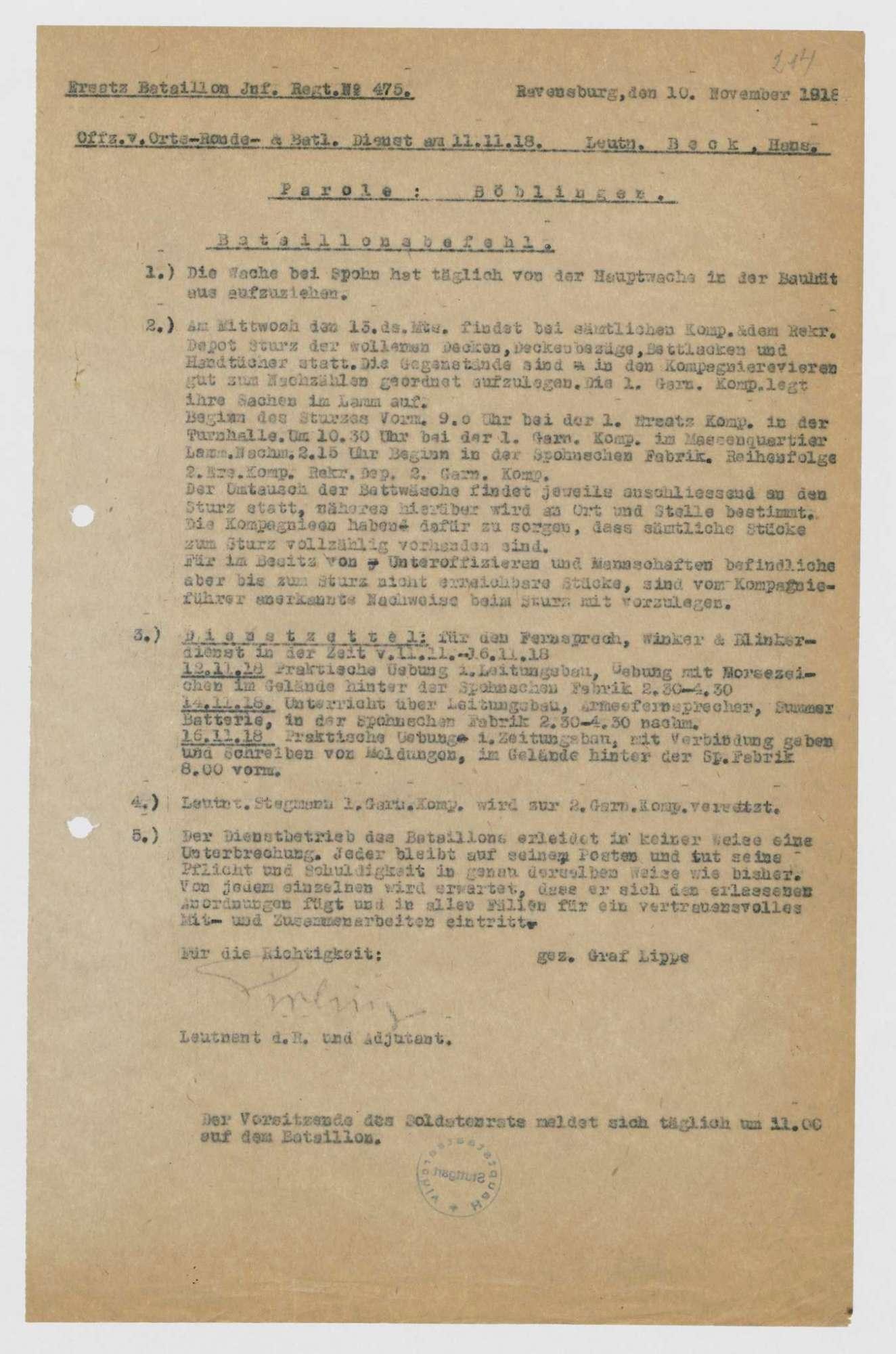Bataillonsbefehle des Ersatz-Bataillons des Infanterie-Regiments Nr. 475, Bild 2
