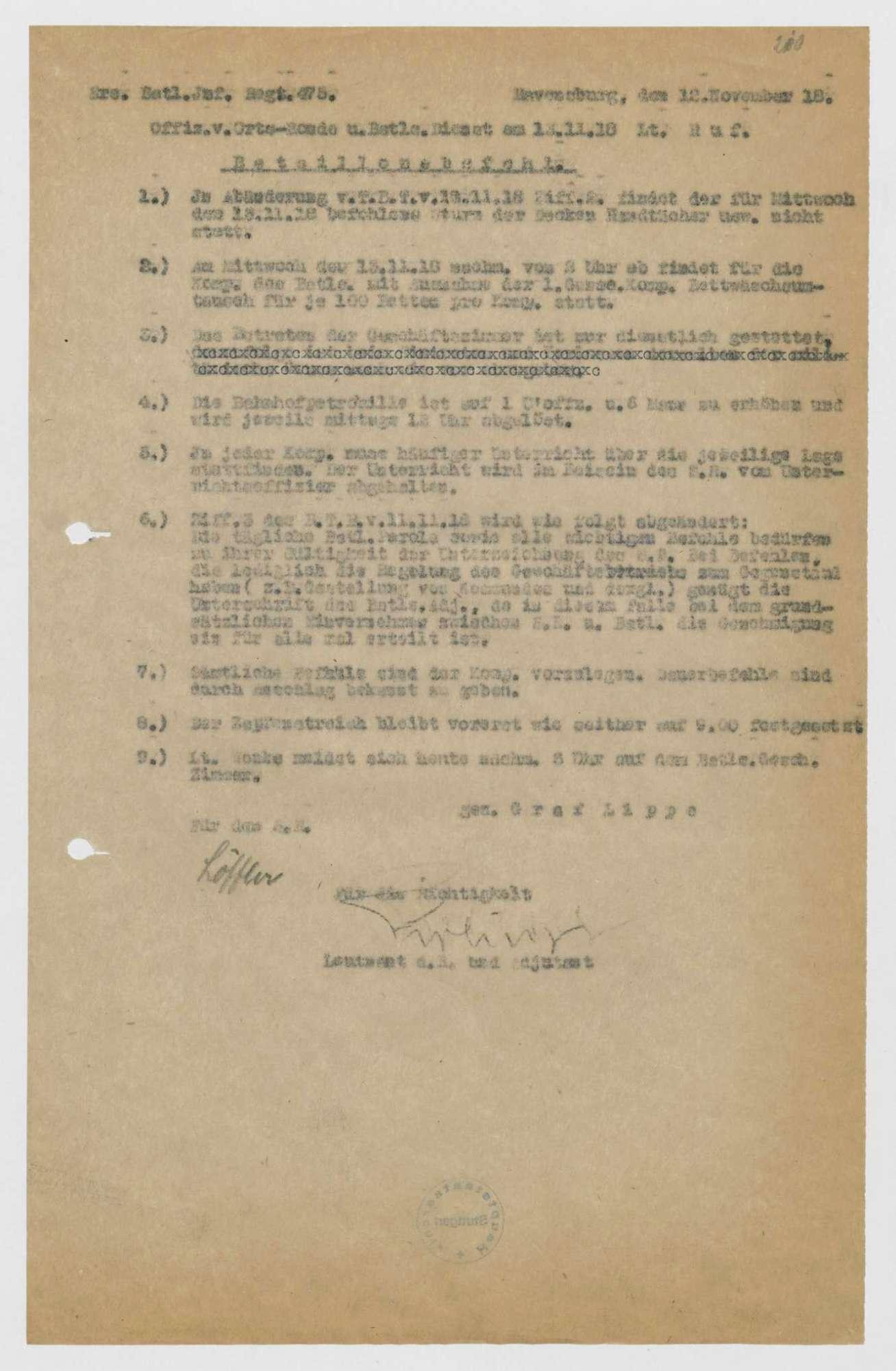 Bataillonsbefehle des Ersatz-Bataillons des Infanterie-Regiments Nr. 475, Bild 3