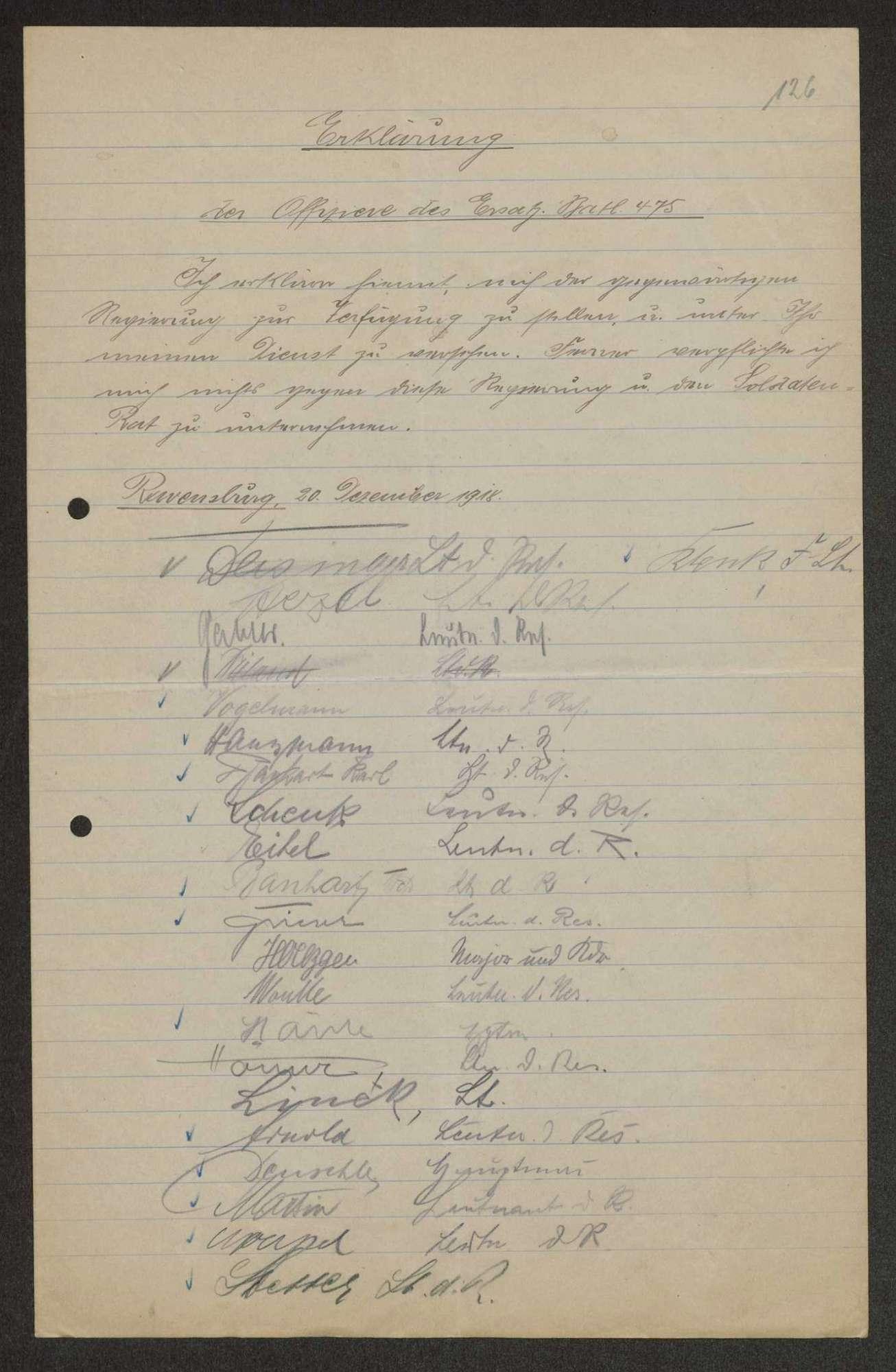 Unterschriftenliste der Offiziere des Ersatz-Bataillons des Infanterie-Regiments Nr. 475 zur Loyalität gegenüber der bestehenden Regierung und gegenüber dem Soldatenrat, Bild 1
