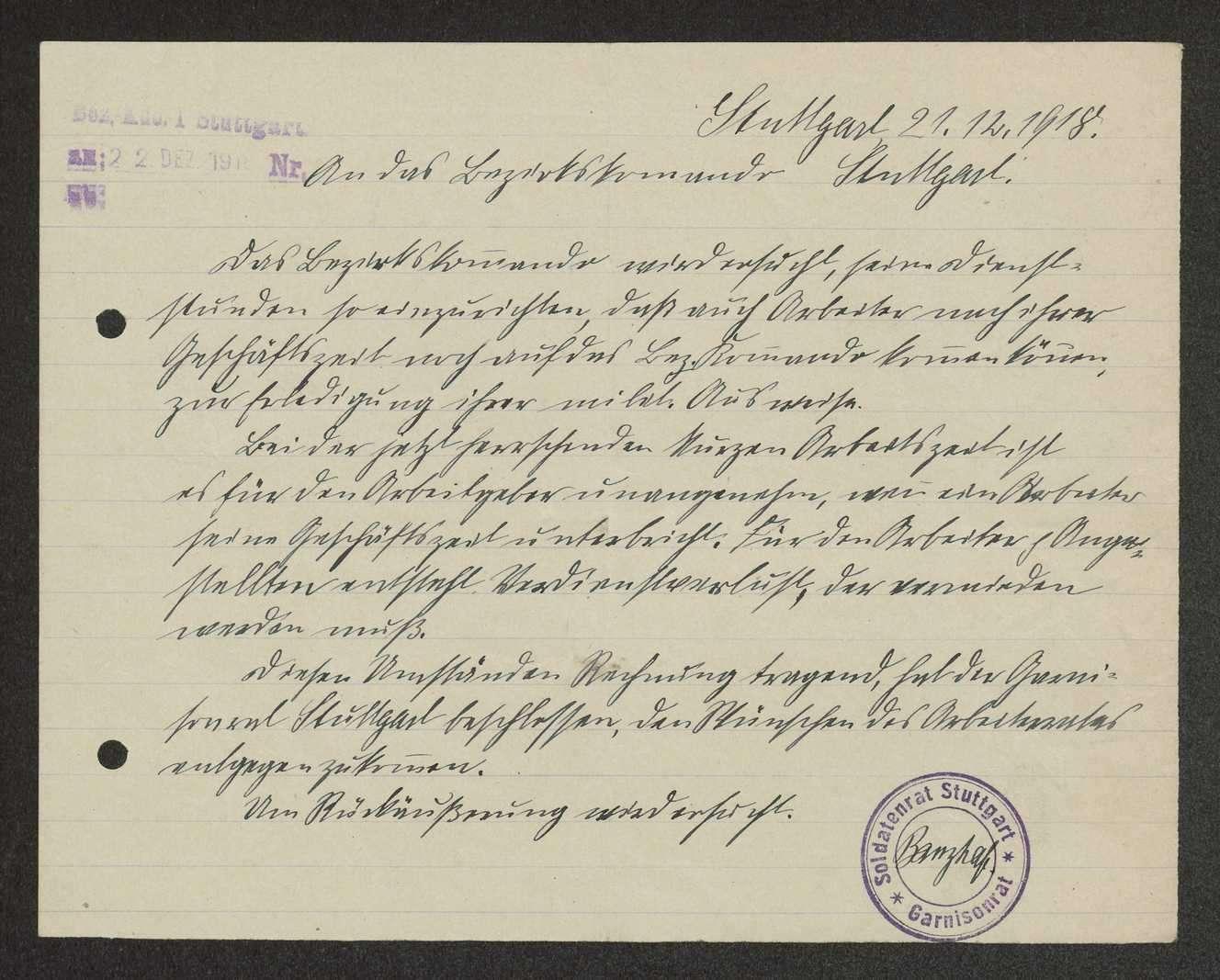 Bekanntmachung über die Meldezeit bei den Stuttgarter Bezirkskommandos I und II, Bild 1