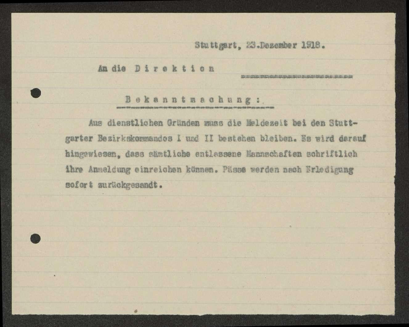 Bekanntmachung über die Meldezeit bei den Stuttgarter Bezirkskommandos I und II, Bild 3