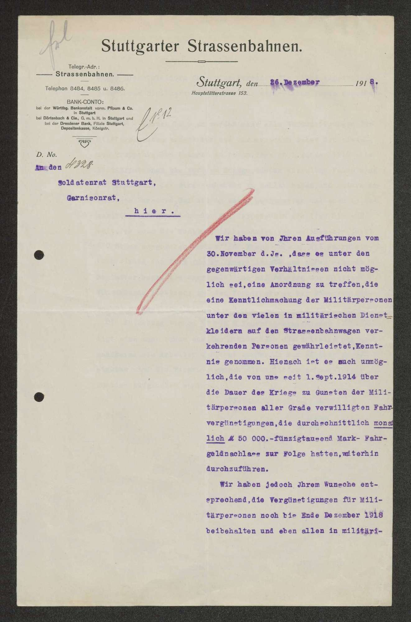 Aufhebung von Begünstigungen für Militärpersonen bei den Stuttgarter Straßenbahnen, Bild 1
