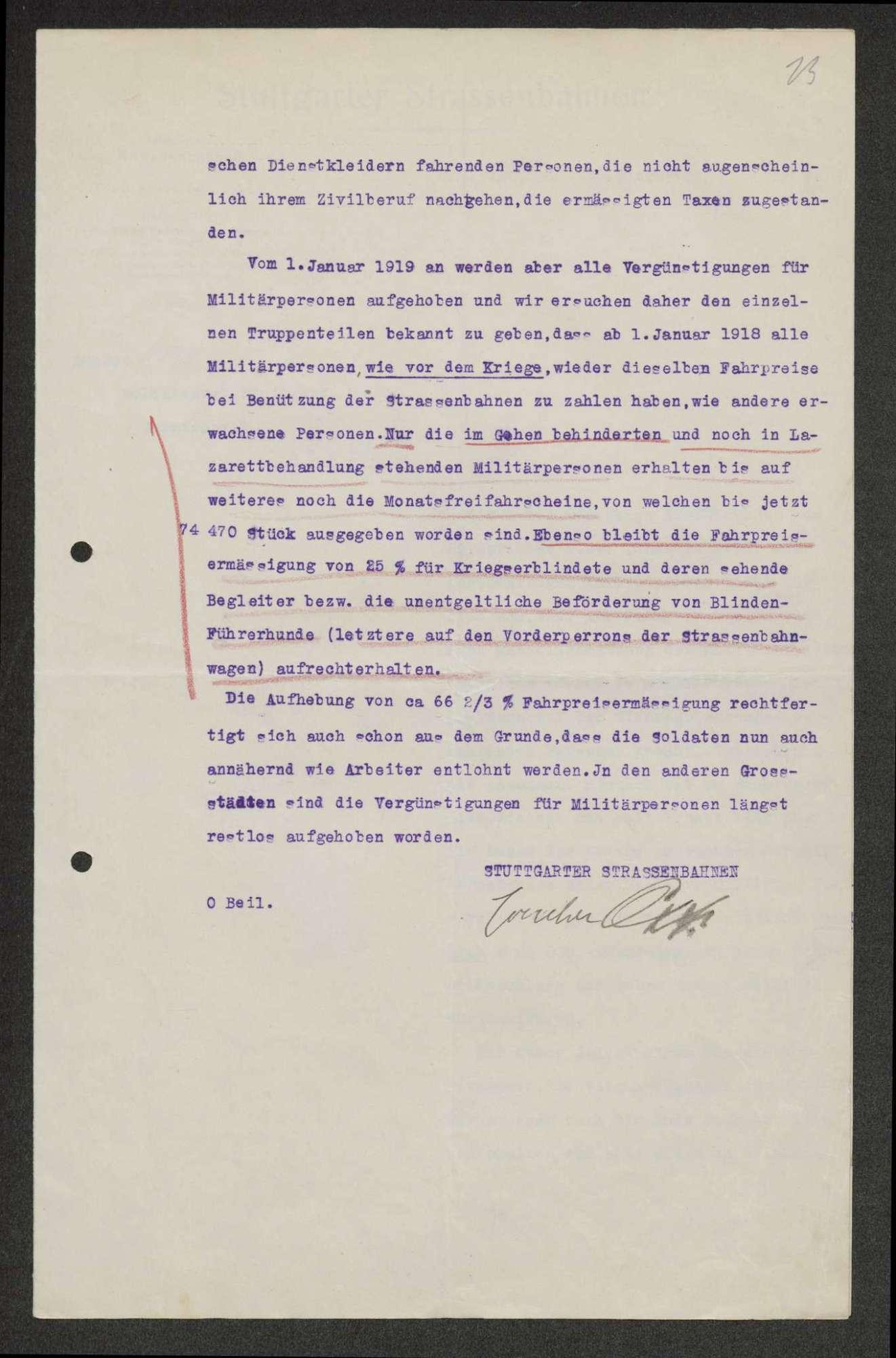 Aufhebung von Begünstigungen für Militärpersonen bei den Stuttgarter Straßenbahnen, Bild 2