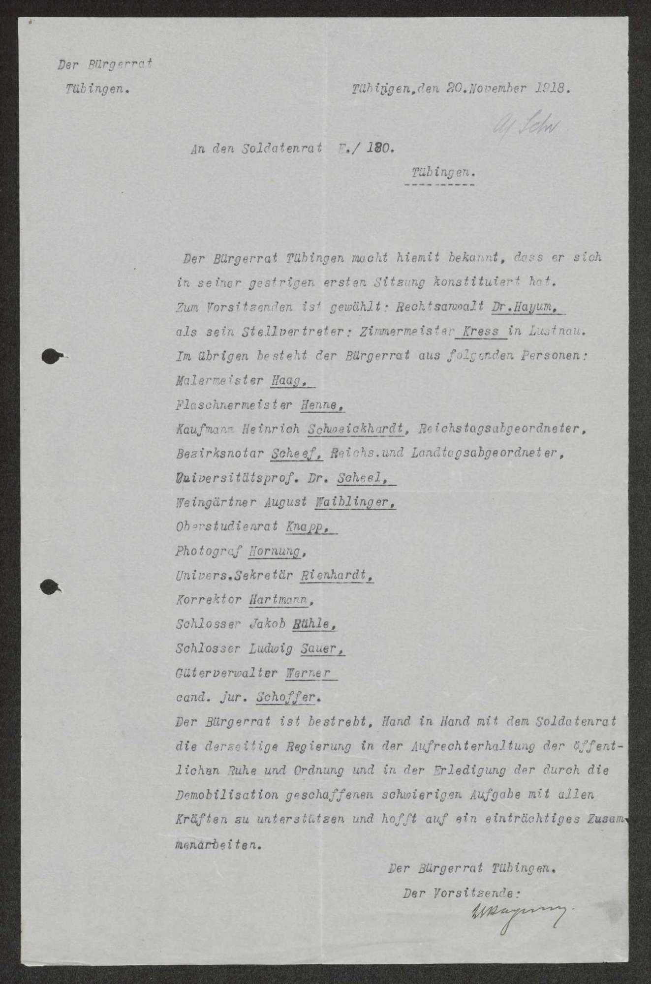 Mitteilung des Bürgerrats Tübingen über seine konstituierende Sitzung sowie über seine Zusammensetzung, Bild 1