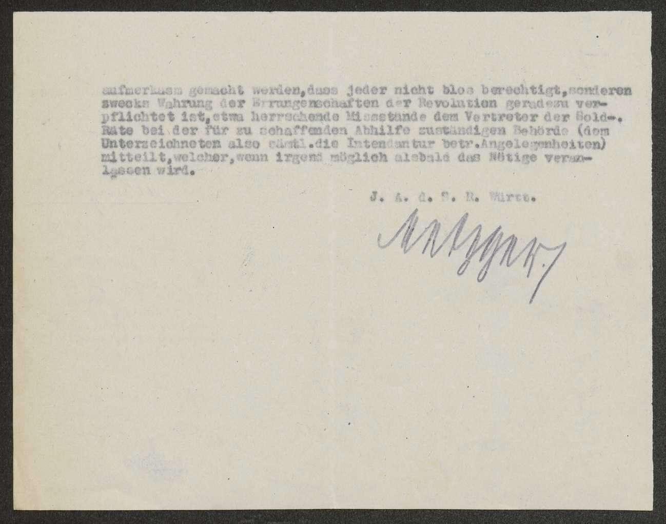 Bitte des Mitglieds des Landesausschusses der Soldatenräte bei der Intendantur des XIII. Armeekorps an die Soldatenräte um Gegenzeichnung aller Schreiben sowie um Meldung von Missständen, Bild 2