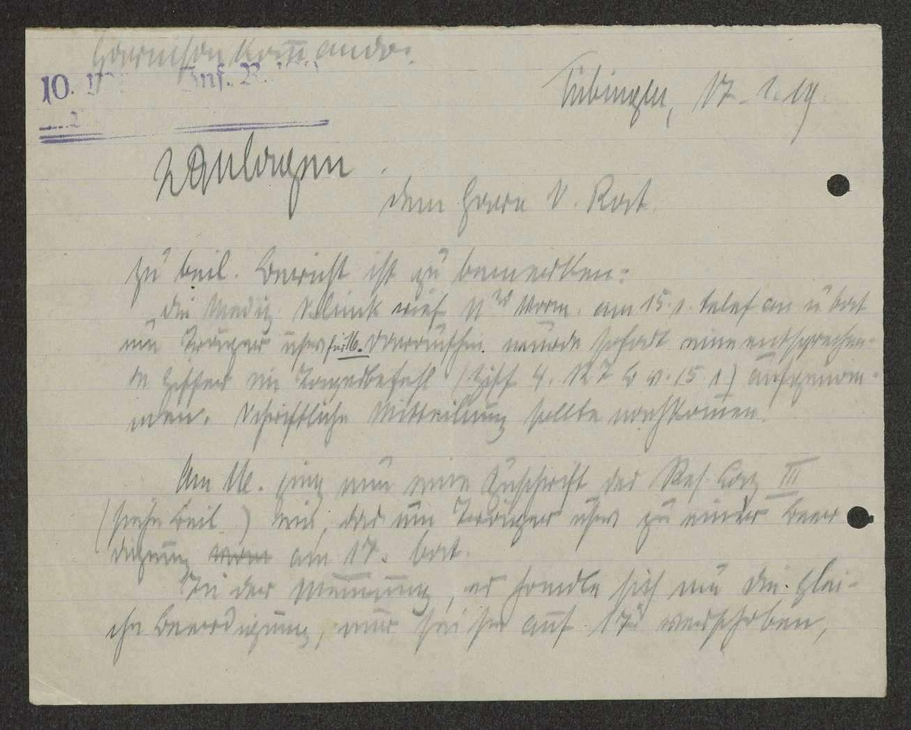 Klärung der Beschwerde des Reserve-Lazaretts III Tübingen über das Ausbleiben einer für eine Beerdigung bestellten militärischen Abordnung, Bild 2