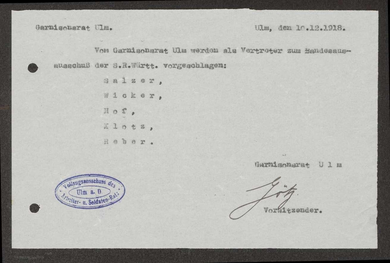 Delegierte des Garnisonrats Ulm zum Landesausschuss der Soldatenräte, Bild 2