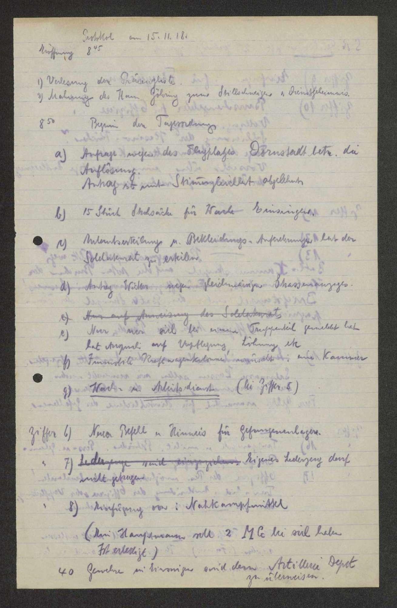 Protokolle von Vollzugsausschusssitzungen des Garnisonrats, Bild 1