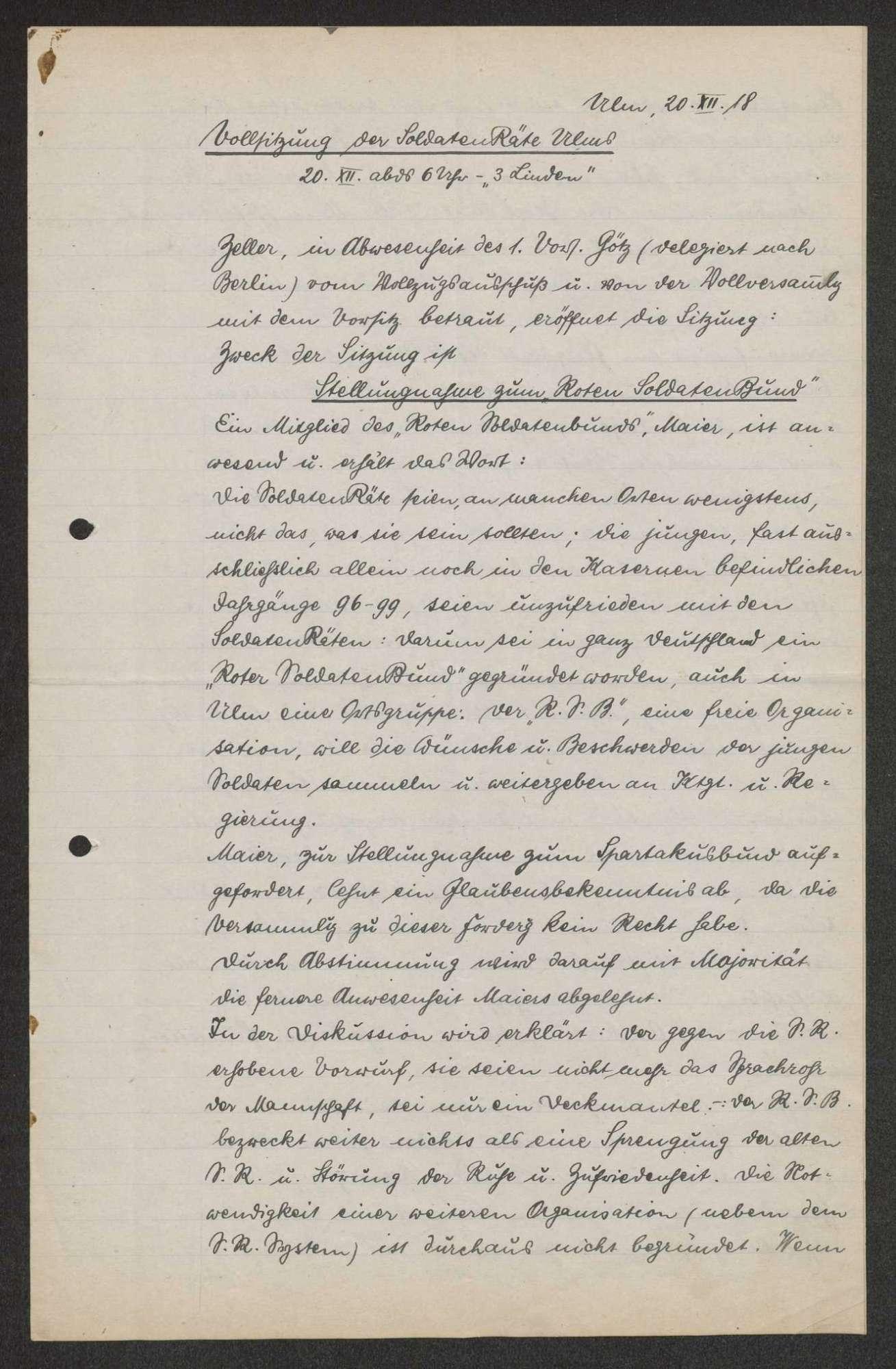 Protokolle der Vollsitzungen der Arbeiter- und Soldatenräte Ulms Darin: Zeitungsbericht über die Vollsitzung am 20. Feb. 1919., Bild 1