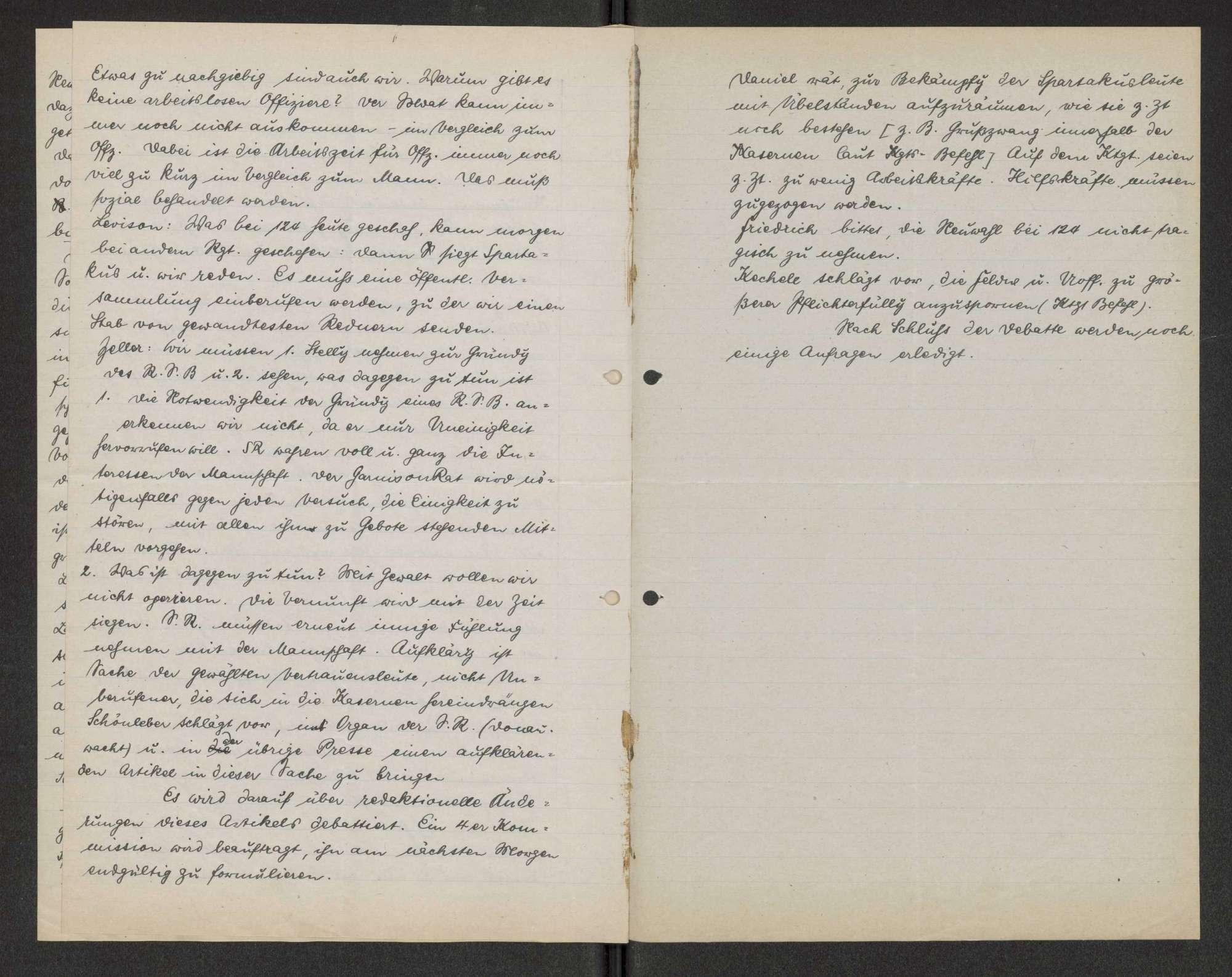 Protokolle der Vollsitzungen der Arbeiter- und Soldatenräte Ulms Darin: Zeitungsbericht über die Vollsitzung am 20. Feb. 1919., Bild 3