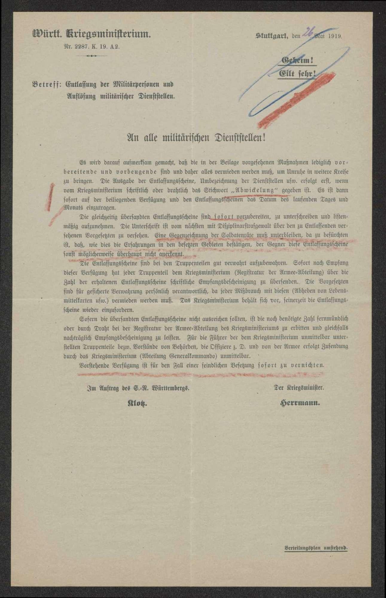 Erlasse des Württembergischen Kriegsministeriums über Maßnahmen im Falle einer Nichtunterzeichnung der Friedensbedingungen, Bild 3