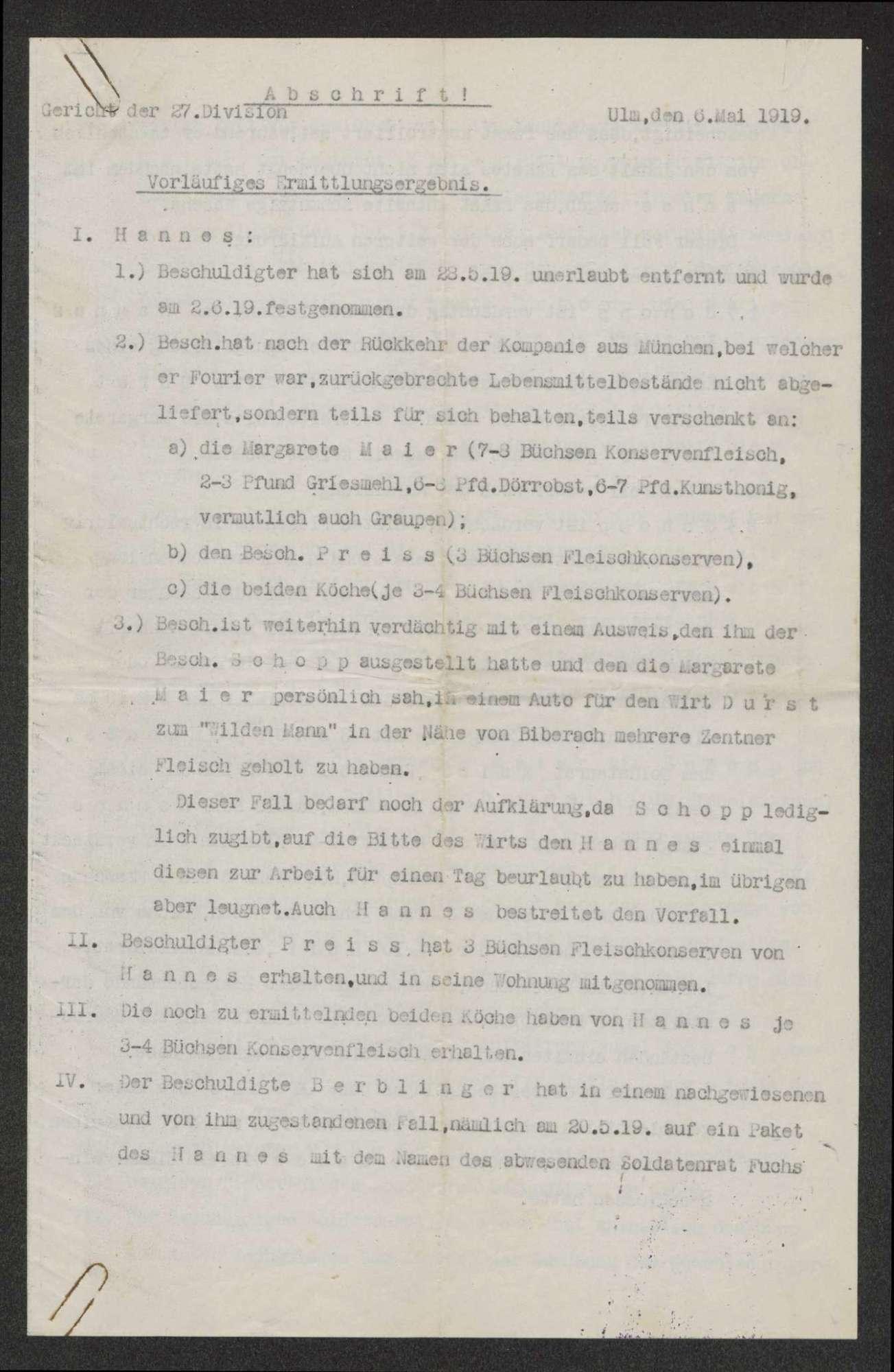 Einzelne Militärgerichtsfälle, Bild 3