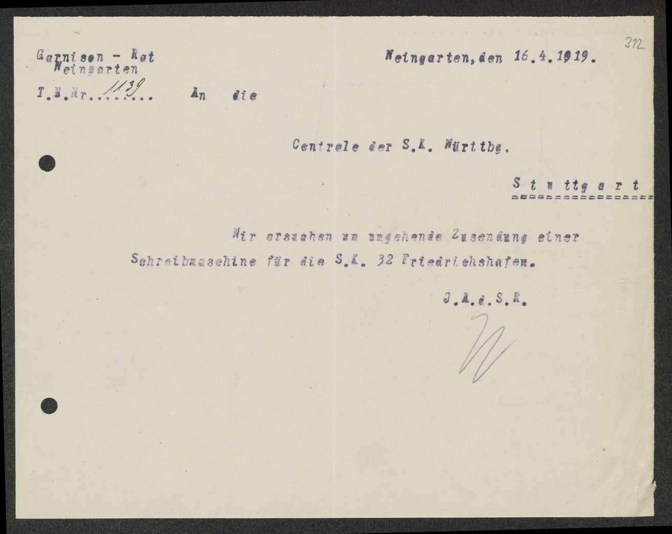 Nachweis, An- und Rückforderung, Abgabe von Schreibmaschinen durch den Garnisonrat, Bild 2