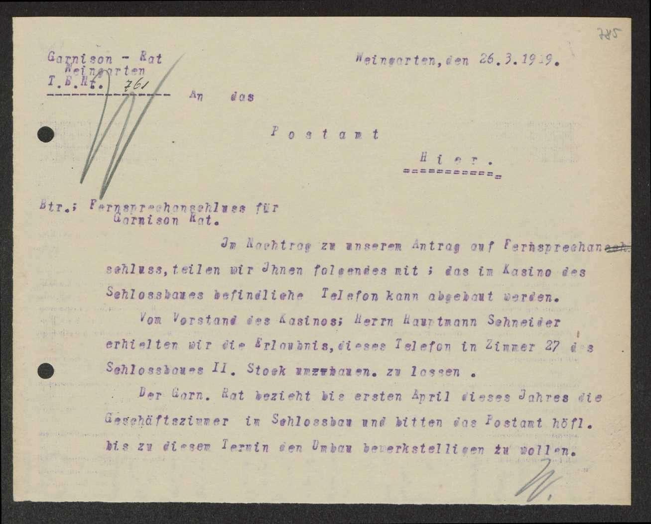Fernsprechanschluss, Anschrift des Garnisonrats, Regelung der Postzustellung für denselben, Bild 2