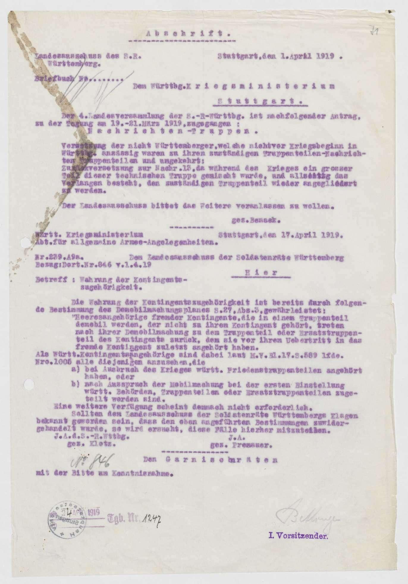 Wahrung der Kontingentszugehörigkeit im Rahmen der Demobilmachung, Bild 1