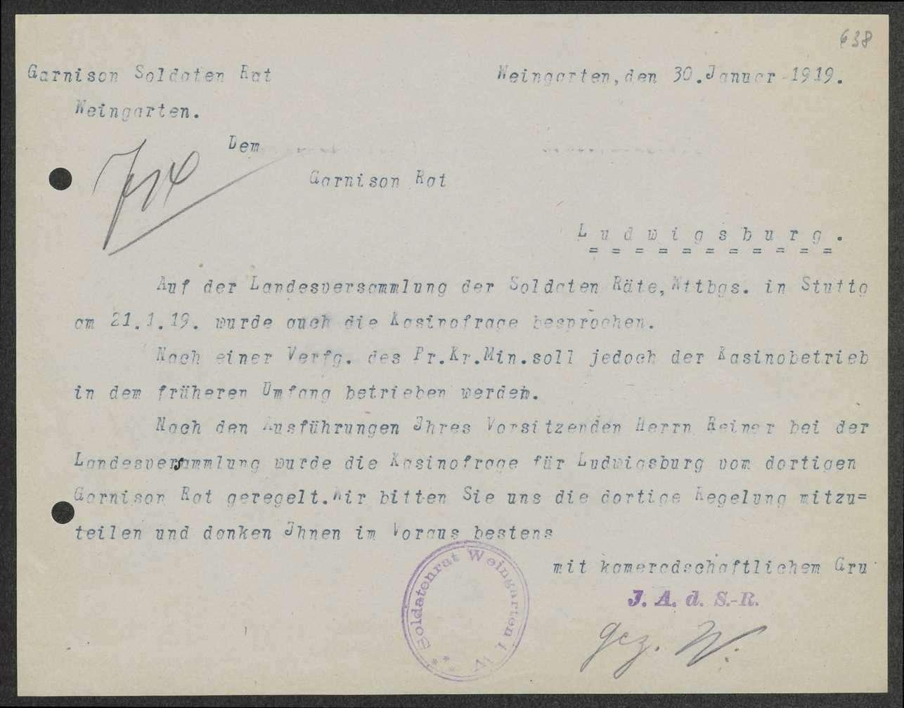 Kasinofrage, Regelung des Küchenbetriebs, Unterstellung und Verpachtung von Kantinen, Bild 3