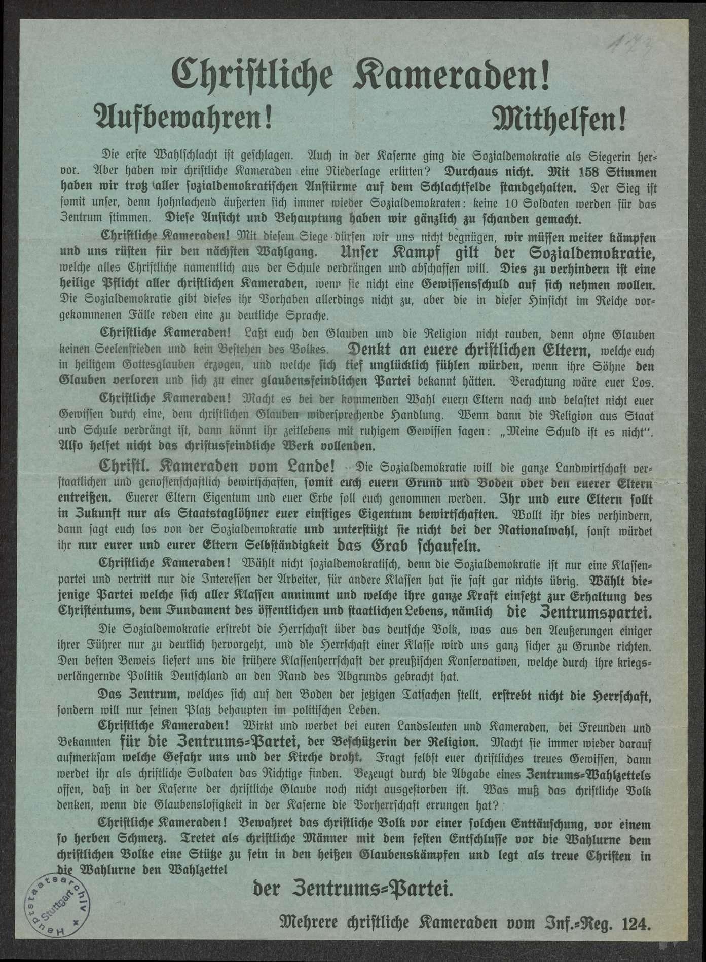"""Aufruf zur Wahl der und Werbung für die Zentrumspartei """"Christliche Kameraden"""", Soldaten des Infanterie-Regiments Nr. 124, 32x24 cm, Bild 1"""