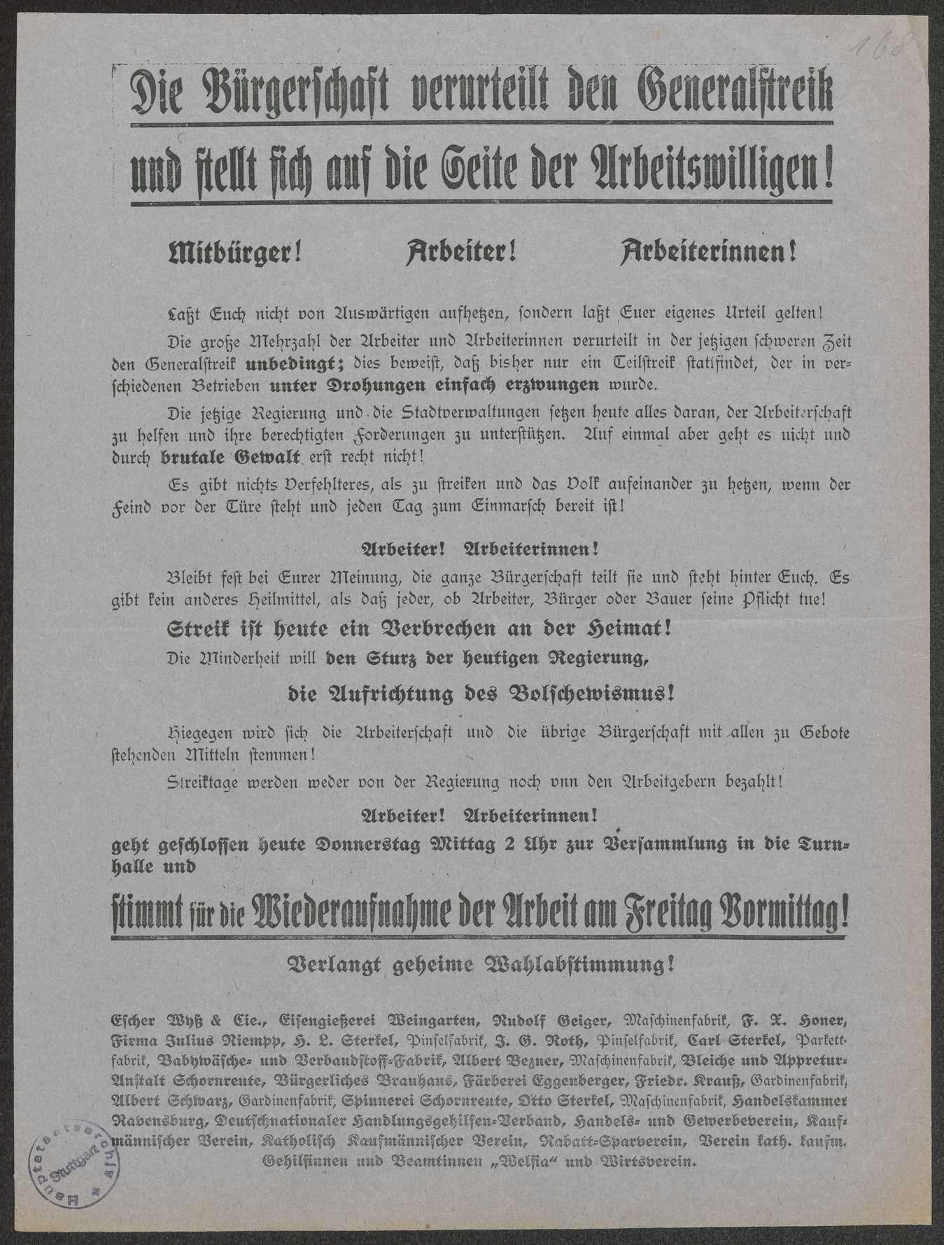 """""""Die Bürgerschaft verurteilt den Generalstreik und stellt sich auf die Seite der Arbeitswilligen !"""", Namentlich angeführte Unternehmer aus Ravensburg und Weingarten, 30x23 cm, Bild 1"""