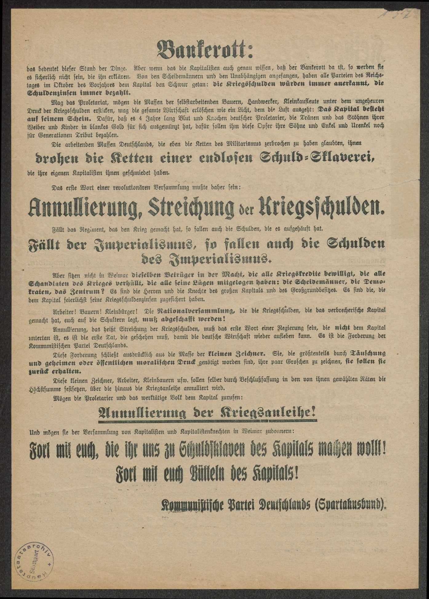"""""""Keinen Pfennig für die Kriegsschulden"""" Kommunistische Partei Deutschlands, 33x24 cm, Bild 2"""