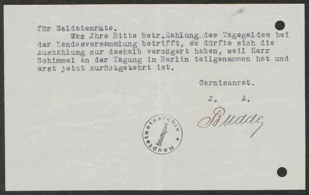 Unterstellung von Hirsau unter den Garnisonrat, Angriffe gegen den Garnisonratsvorsitzenden, Aufhebung des Garnisonrats Zuffenhausen, Bild 2