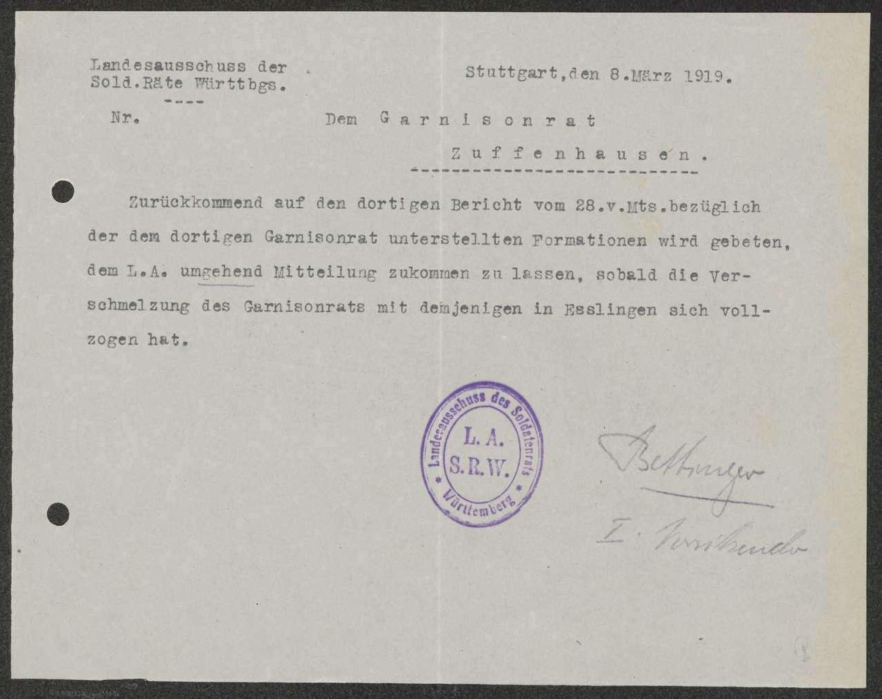 Unterstellung von Hirsau unter den Garnisonrat, Angriffe gegen den Garnisonratsvorsitzenden, Aufhebung des Garnisonrats Zuffenhausen, Bild 3