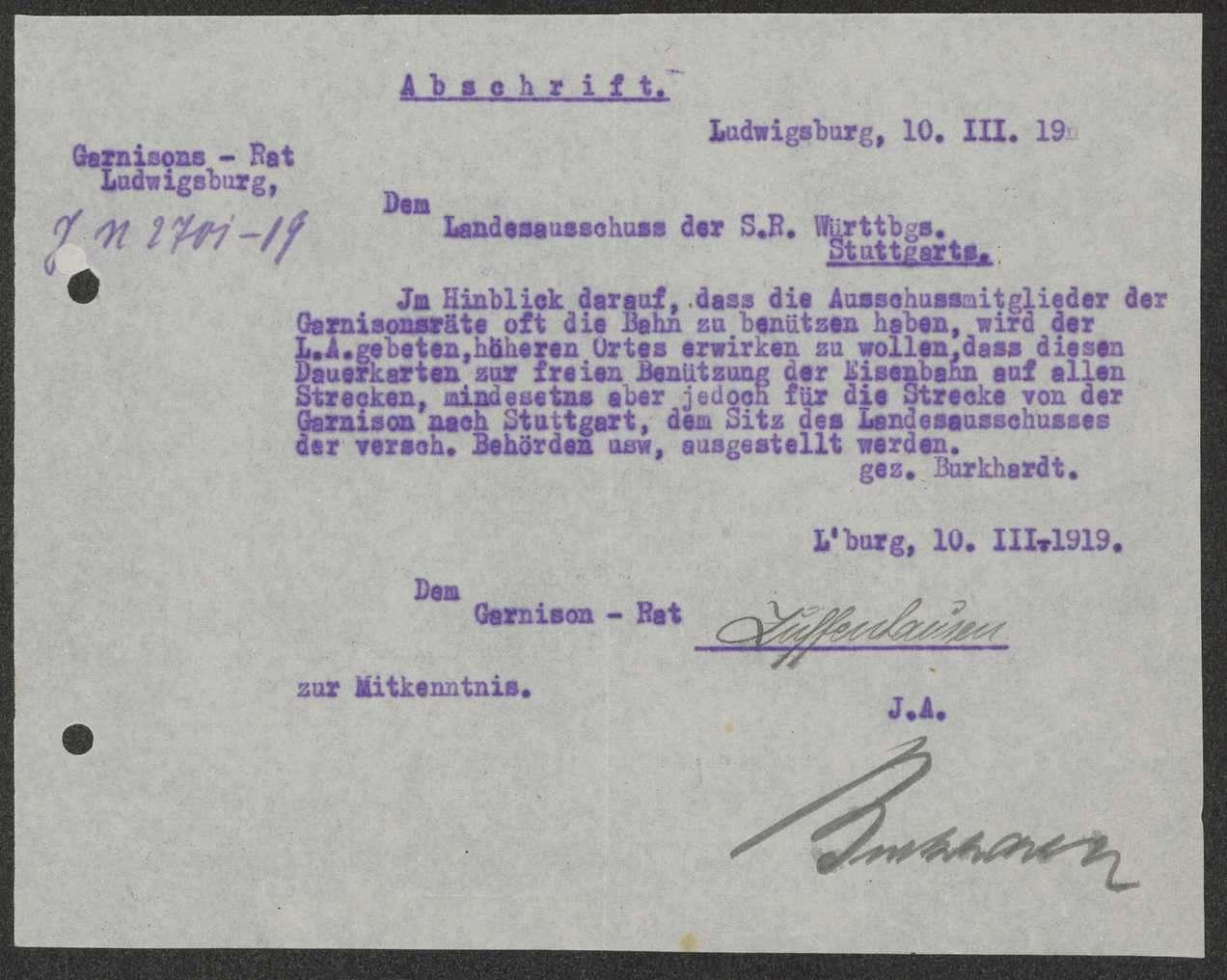 Mitteilung über einen Antrag des Garnisonrats Ludwigsburg zur freien Benutzung der Eisenbahn für Garnisonräte, Bild 1