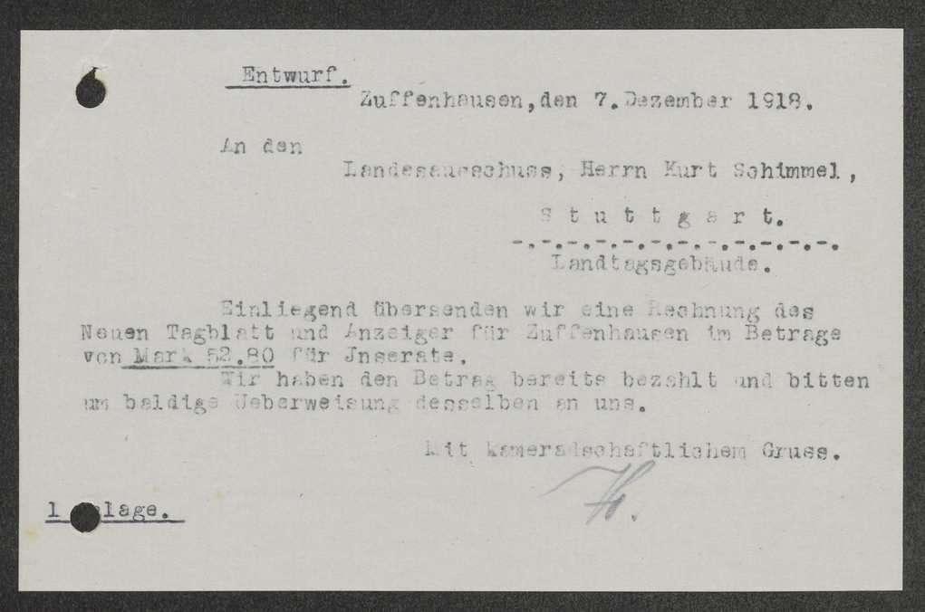 Kostenerstattung für Inserate im Neuen Tagblatt und für die Anfertigung von Armbändern für Soldatenratsmitglieder, Bild 1