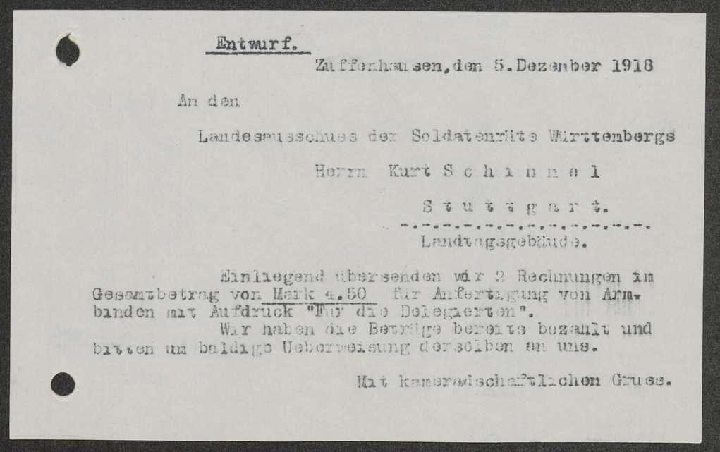 Kostenerstattung für Inserate im Neuen Tagblatt und für die Anfertigung von Armbändern für Soldatenratsmitglieder, Bild 2