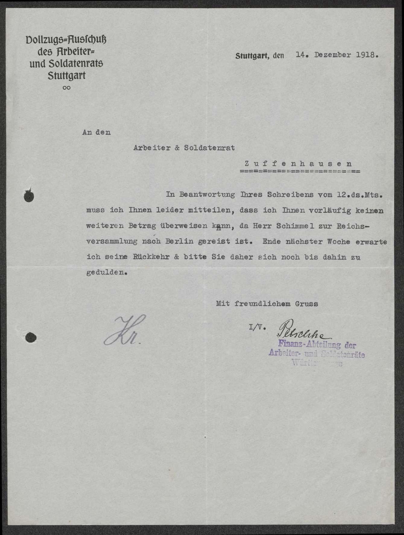 Kostenerstattung für Inserate im Neuen Tagblatt und für die Anfertigung von Armbändern für Soldatenratsmitglieder, Bild 3