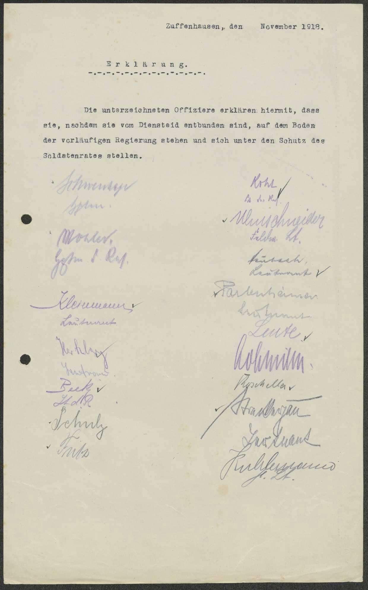Treueerklärung der Offiziere gegenüber der Staatsregierung und den Soldatenräten, Bild 1
