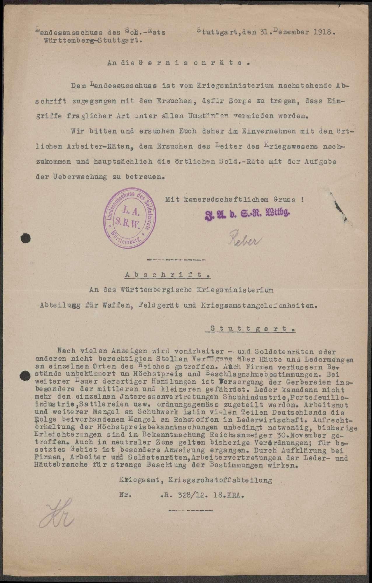Maßnahmen gegen die Verschleuderung von Heeresgut, Anzeigen über die Verschiebung militärischer Gegenstände durch Soldaten und Zivilisten, Bild 1
