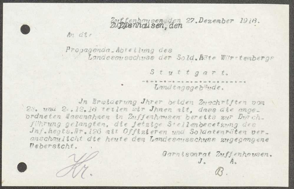 Stellenbesetzung des Infanterie-Regiments Nr. 126 mit Offizieren und Soldatenräten, Bild 1