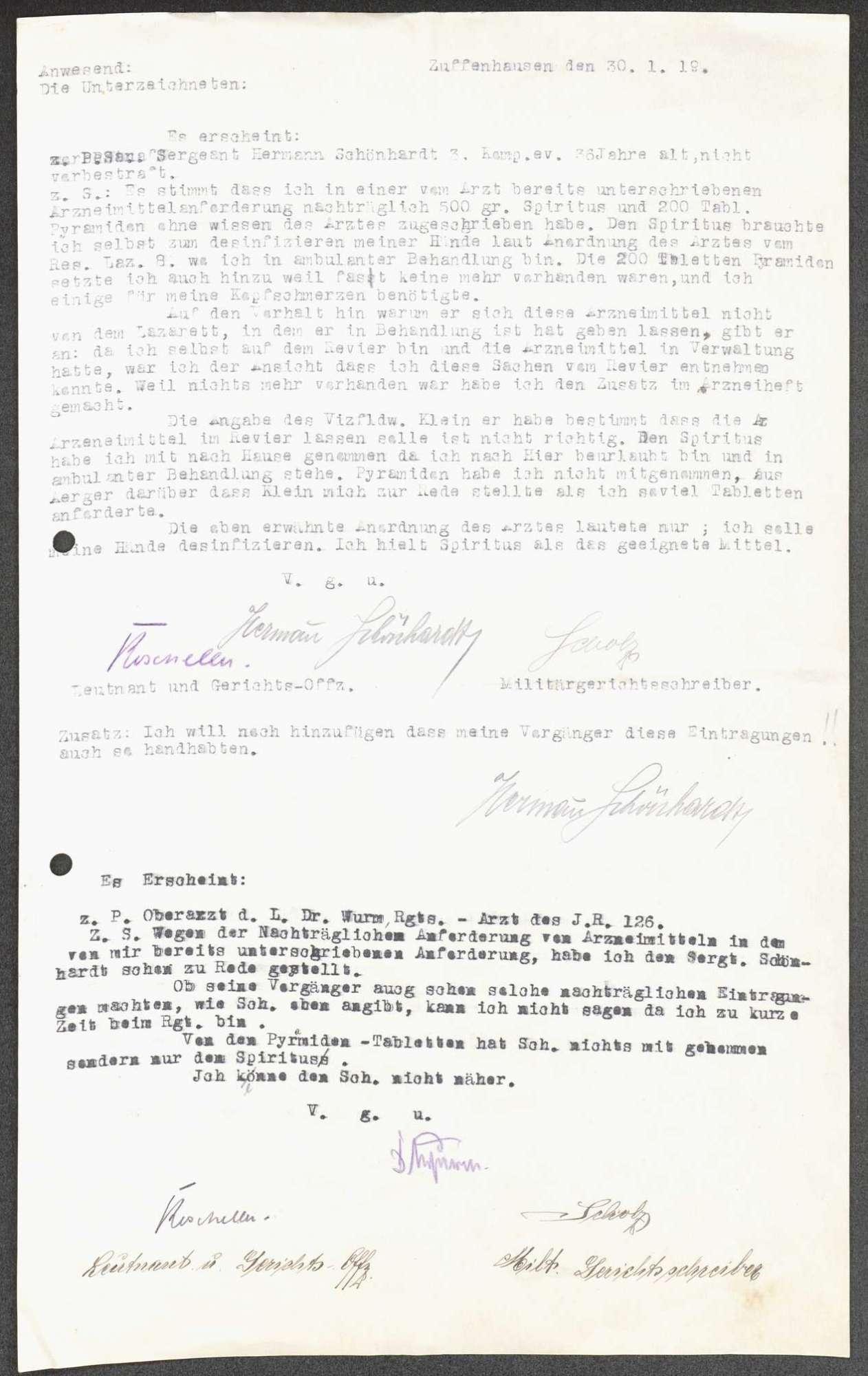 Anschuldigung eines Sanitätssergeanten und Missbilligung der Beförderung eines weiteren Sanitätssergeanten durch das Sanitätspersonal des Infanterie-Regiments Nr. 126, Bild 3
