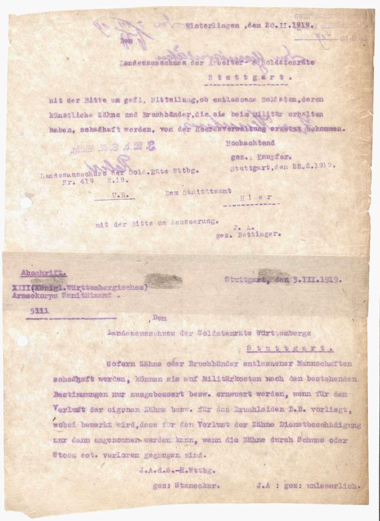 Mitteilung des Landesausschusses der Soldatenräte über den Ersatz von beim Militär erhaltenen, schadhaft gewordenen künstlichen Zähnen und Bruchbändern, Bild 1